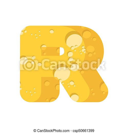 letter r cheese font symbol of cheesy alphabet dairy food type