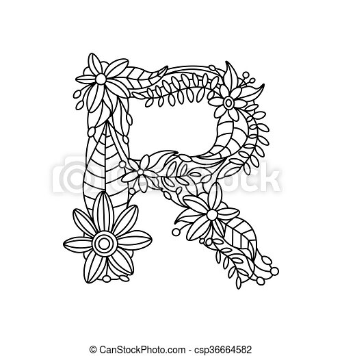 Letter r coloring book for adults vector. Floral alphabet letter ...
