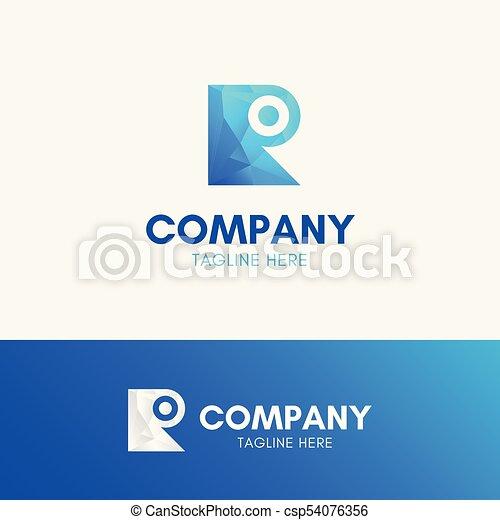 Letter R Dot Polygon Logo