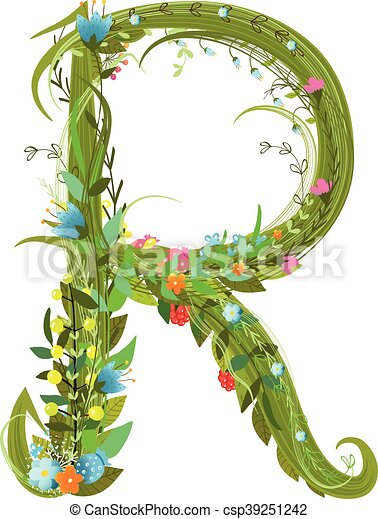 Letter R Floral Latin Decorative Character Alphabet Lettering Sign