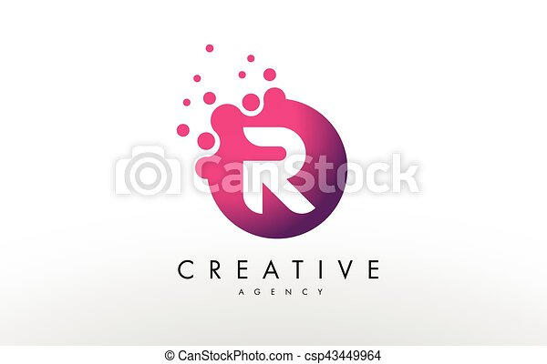 Line Design Clipart Free : Dots letter r logo design vector with clip art