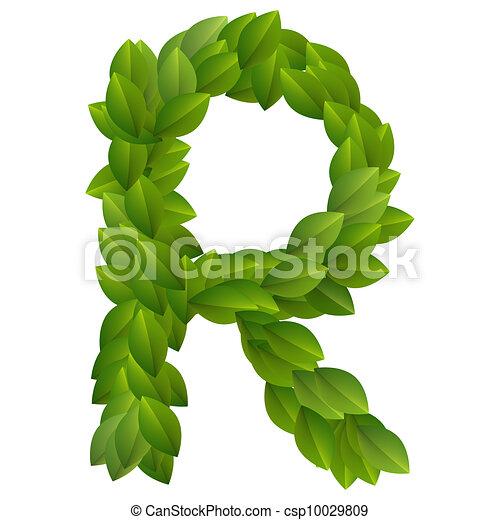 Letter R Of Green Leaves Alphabet   Csp10029809