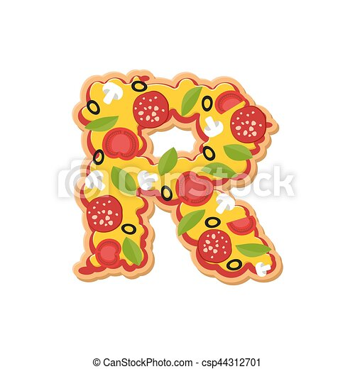 letter r pizza font italian meal alphabet lettring fast food