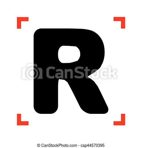 letter r sign design template element black icon in focus corners on white background isolated