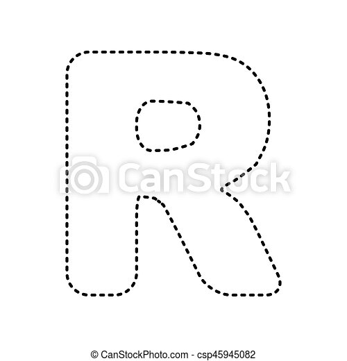 letter r sign design template element vector black dashed icon on