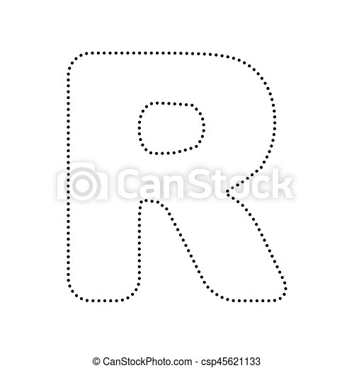 letter r sign design template element vector black dotted icon on white background isolated