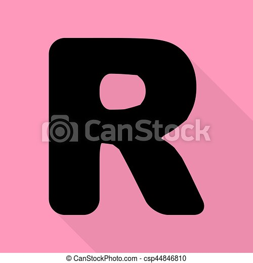 letter r sign design template element black icon with flat style shadow path on pink background