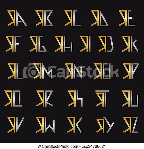 Letter r with alphabet R and other alphabet letters vector