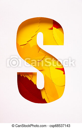 letter s cut from paper with paper autumn leaves - csp68537143