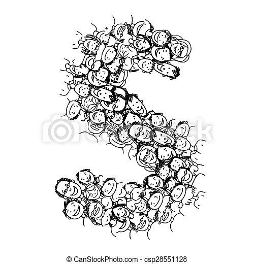 Letter S, people crowd, vector alphabet design