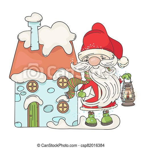 LETTER SANTA Merry Christmas Cartoon Vector Illustration Set - csp82016384