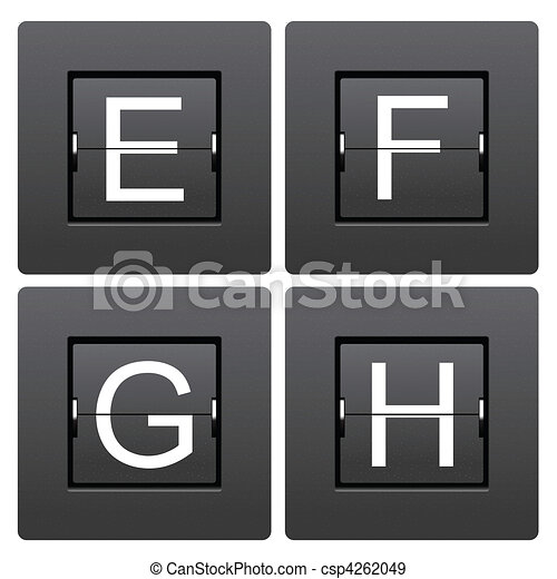 Letter series E to H from mechanical scoreboard - csp4262049