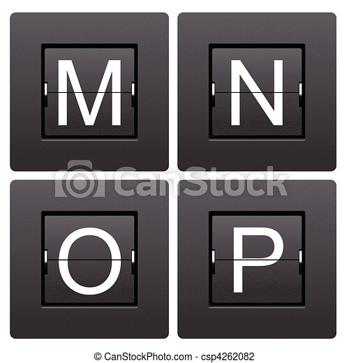 Letter series M to P from mechanical scoreboard - csp4262082
