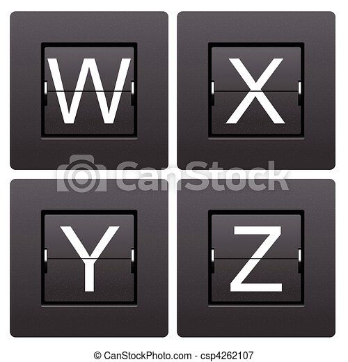 Letter series W to Z from mechanical scoreboard - csp4262107