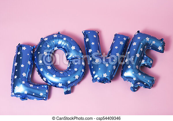letter-shaped balloons forming the word love - csp54409346