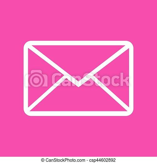 Letter sign illustration. White icon at magenta background. - csp44602892