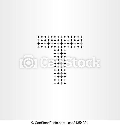 Letter T Black Star Halftone Dots Vector Icon Design