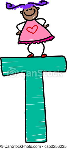 letter t girl little girl standing on the letter t stock rh canstockphoto com letter t clipart black and white free letter t clipart