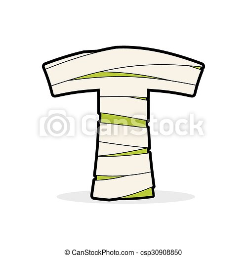 Letter T Mummy Typography Icon In Bandages Horrible Egyptian