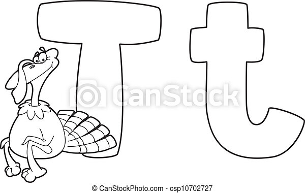 Illustration Of A Letter T Turkey Outlined