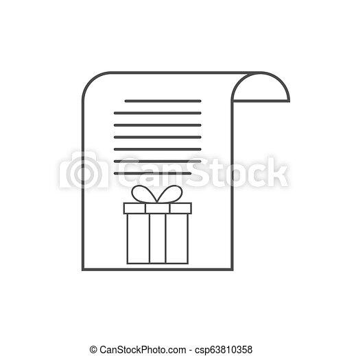 Letter to Santa icon, wish list. Vector illustration. - csp63810358