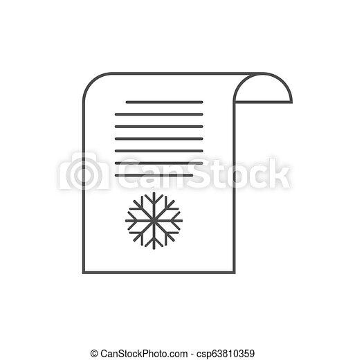 Letter to Santa icon, wish list. Vector illustration. - csp63810359