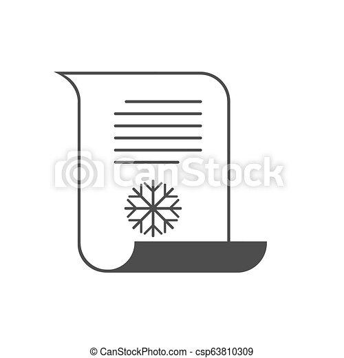 Letter to Santa icon, wish list. Vector illustration. - csp63810309