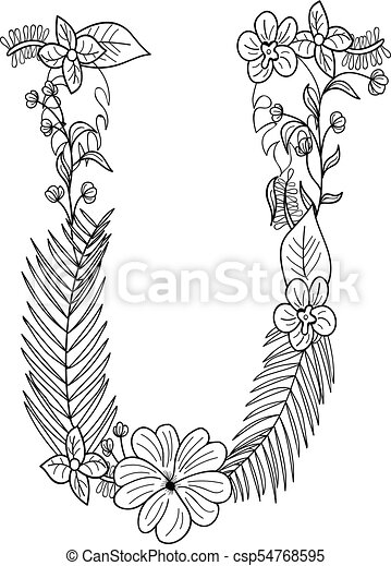 Letter U Floral Ornament Isolated On White Background