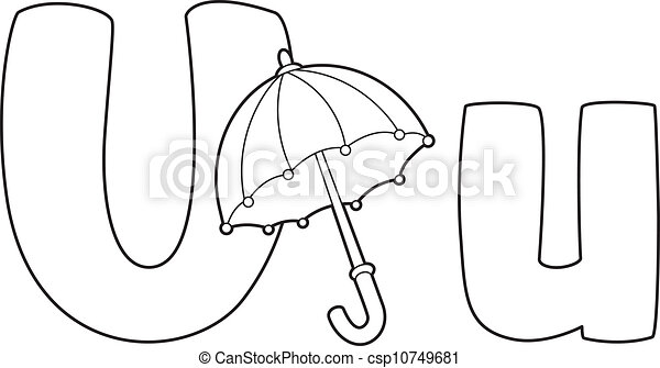Illustration Of A Letter U Umbrella Outlined