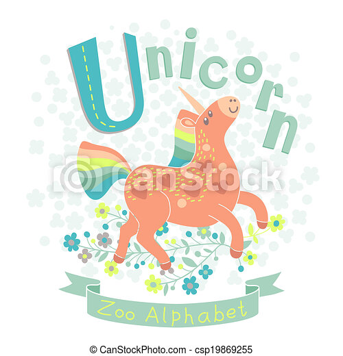 714a384f Letter u - unicorn. alphabet with cute animals. vector illustration.