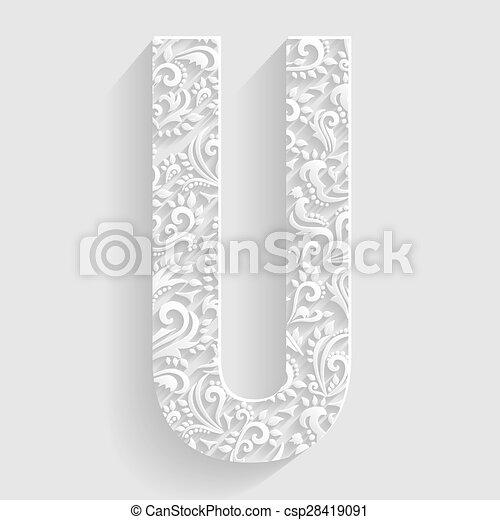 Letter U Vector Floral Invitation Cards Decorative Font