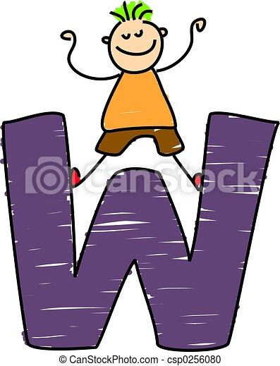 letter w boy little boy standing on letter w stock illustration rh canstockphoto com clipart letter k clipart letter b