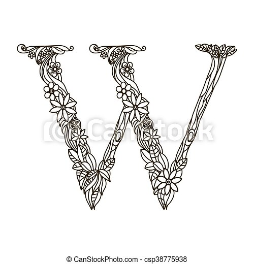 Letter w coloring book for adults vector. Floral alphabet letter ...