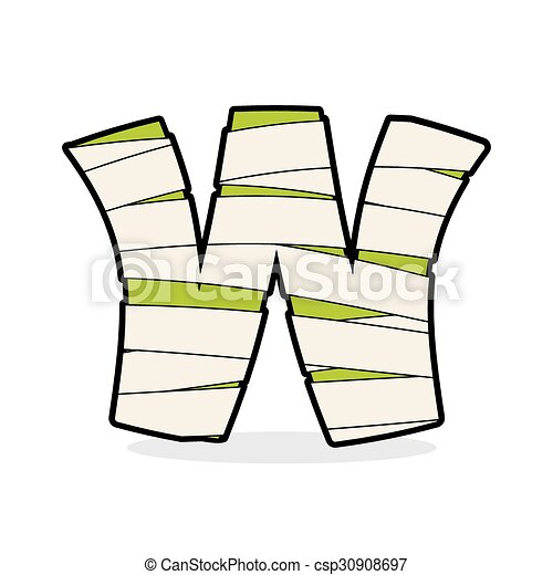 letter w mummy typography icon in bandages horrible egyptian