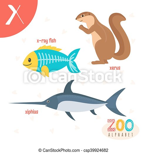 letter x. cute animals. funny cartoon animals in vector. abc book