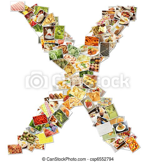 letter x with food collage concept art.