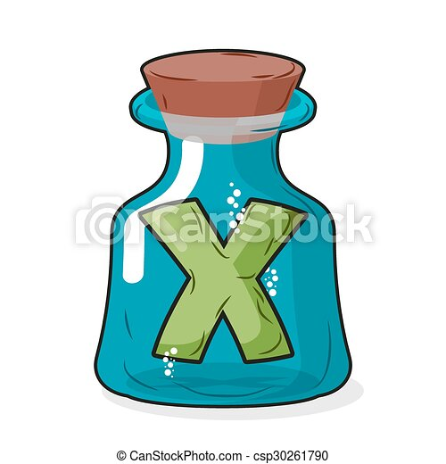letter X in bottle for experiments. Letter in vessel. Laboratory research vessel. Vector illustration figure for chemical tests. - csp30261790