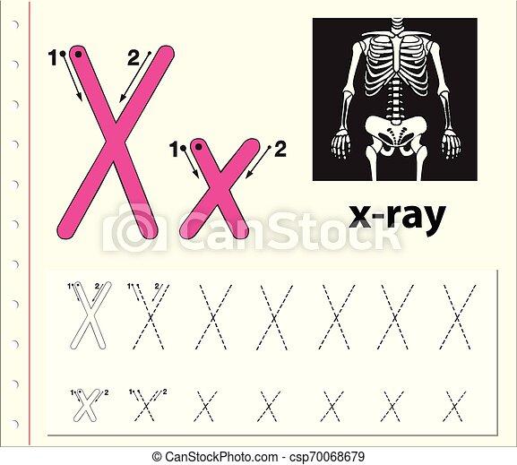 Letter X Tracing Alphabet Worksheets Illustration. CanStock