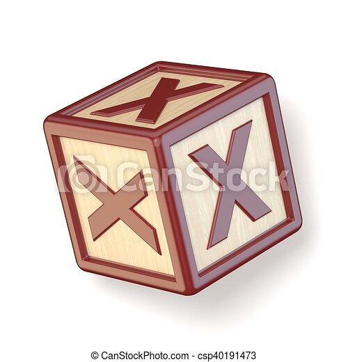 Letter X Wooden Alphabet Blocks Font Rotated 3d Render Illustration
