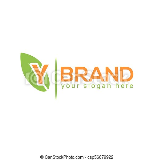 Letter Y With Leaf On White Background Logo Design Template Flat