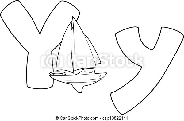 Illustration Of A Letter Y Yacht Outlined