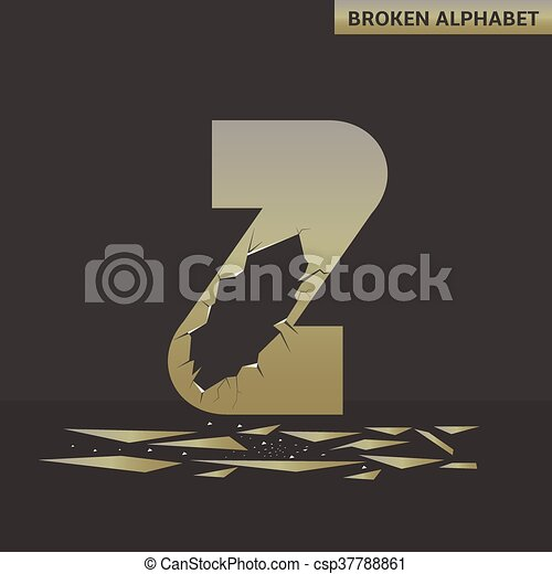 Letter Z. Broken mirror - csp37788861