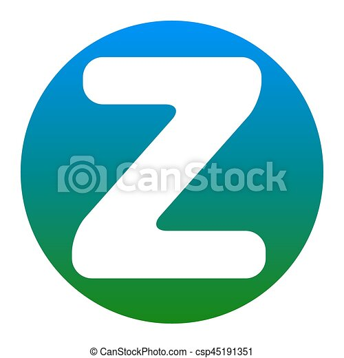 Letter Z Sign Design Template Element. Vector. White Icon In Bluish Circle  On White Background. Isolated.