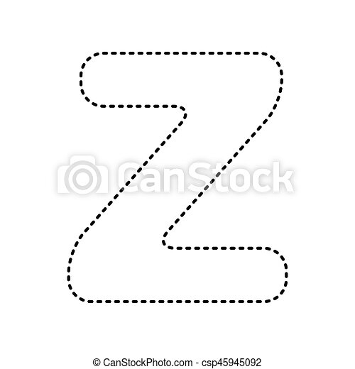 Letter Z Sign Design Template Element Vector Black Dashed Icon On