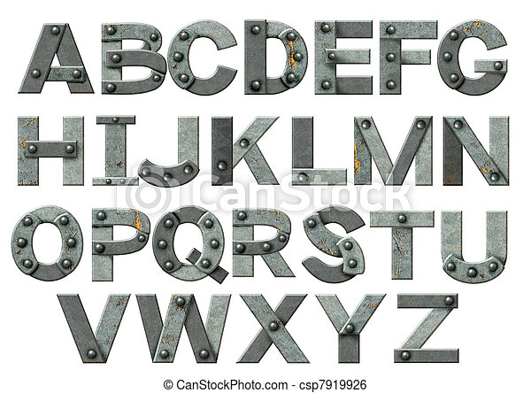 lettere, alfabeto, -, metallo, arrugginito, chiodi - csp7919926