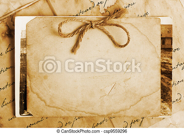 lettere, carta, vendemmia, foto, fondo, vecchio - csp9559296