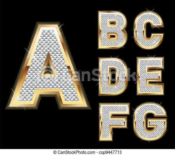 lettere, diamante, set, oro, a-g - csp9447713