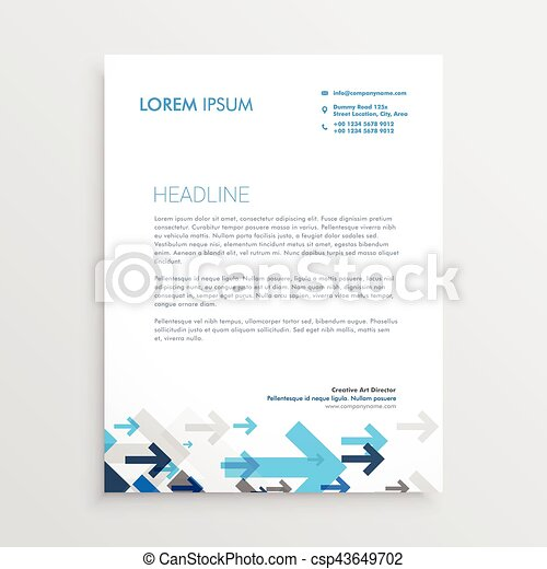 Letterhead design template with blue arrows in business style letterhead design template with blue arrows in business style csp43649702 wajeb Choice Image