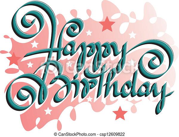 lettering, aniversário, feliz, mão - csp12609822