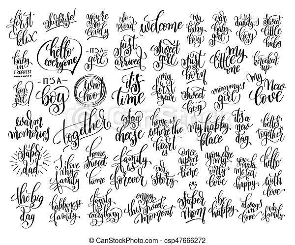 lettering, aproximadamente, jogo, família, 50, mão, nascido, escrito, bebê - csp47666272